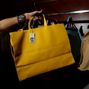 Telfar bags on a rack