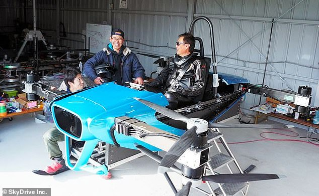 SkyDrive began test flights of its flying car prototype (pictured above) with a human pilot at a test facility in Nagoya