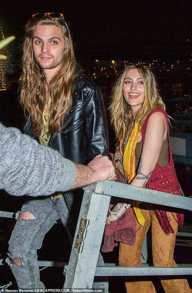 City Of Lights: Paris Jackson and beau Gabriel Glenn boarded a boat on the Seine river in Paris, France to play a show with their band The Soundflowers on Friday