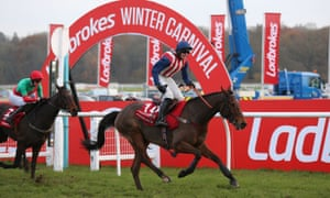 Andrew Gemmell has a quarter share in De Rasher Counter, pictured here winning the Ladbrokes Trophy at Newbury.