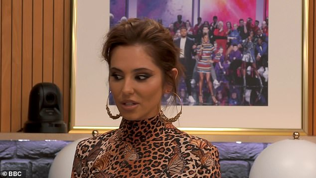 Funny:Cheryl was quick to poke fun at Curtis' stint in the Love Island villa last year, saying: 'I've got a text!' before appearing to flirt with the hunk