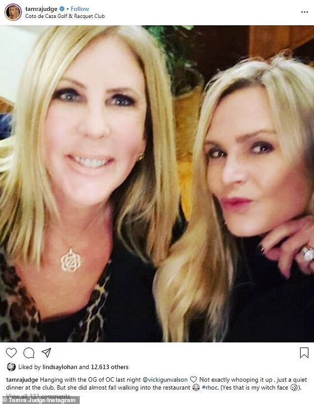 Two of the tres amigas: Tamra took note from Vicki Gunvalson who revealed she was finished with the show after 14 years, starring as the longest-running character of the franchise