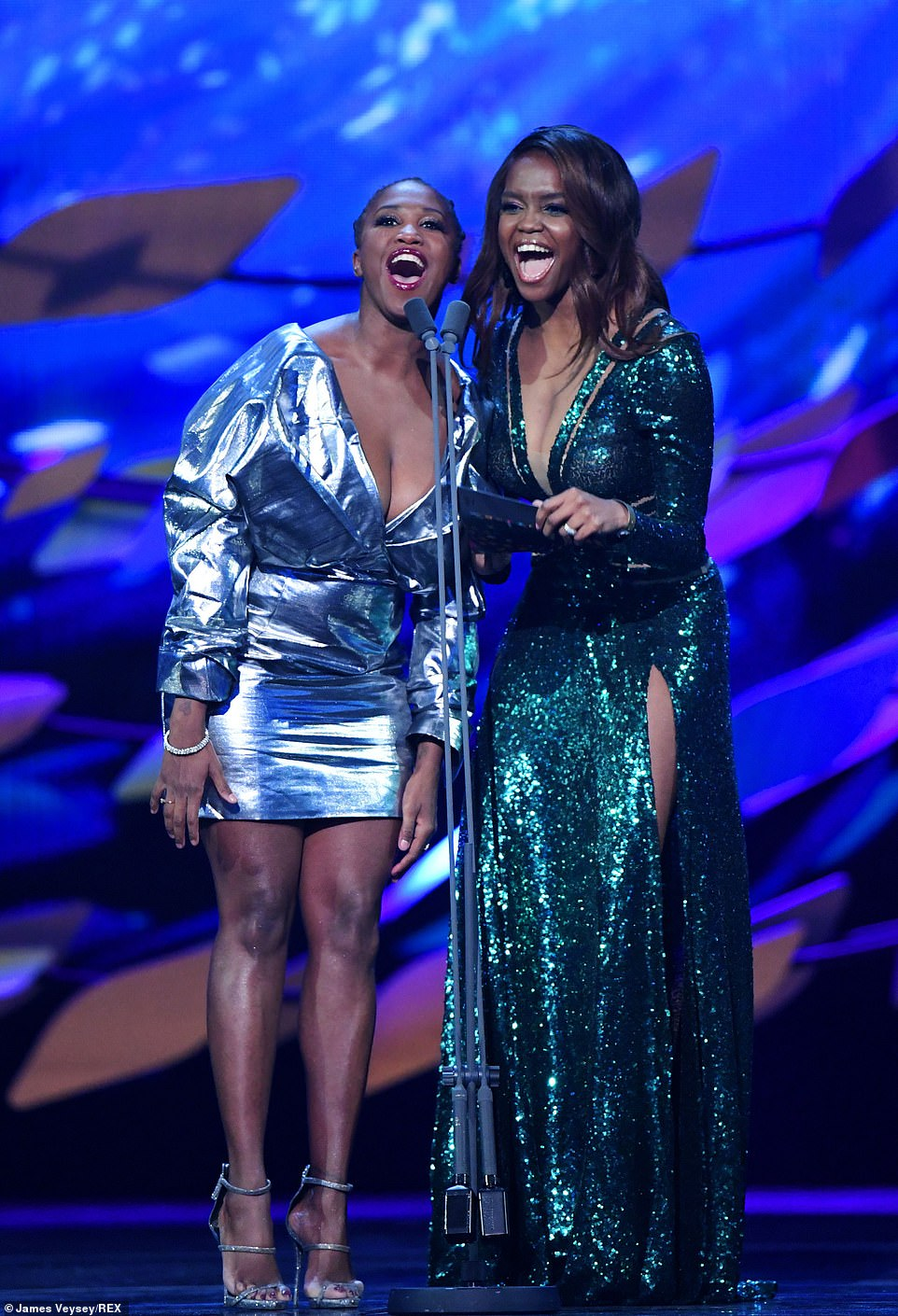 Sister sister: Motsi Mabuse and sister Oti took to the stage to present an award