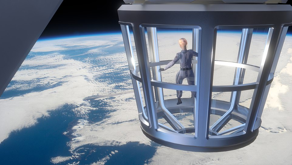 Don't look down: NASA says the 'space home' will allow the first ISS tourists to enjoy views from the 'largest Earth window' - a 360 degree viewing platform that protrudes from the bottom of theAxiom Segment