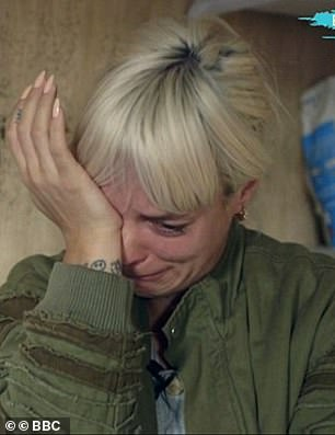 Laurence Fox hit back at Lily Allen (pictured, crying at a migrant camp in Calais) after she told him to stick to acting despite her regular interventions on political issues