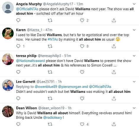 Not popular:Fans of the NTAs also accused the Britain's Got Talent judge of 'making the ceremony all about him'
