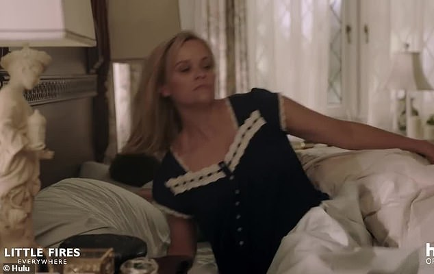 Cut to a previous time: Reese's Elena is seen waking in her beautifully appointed bedroom