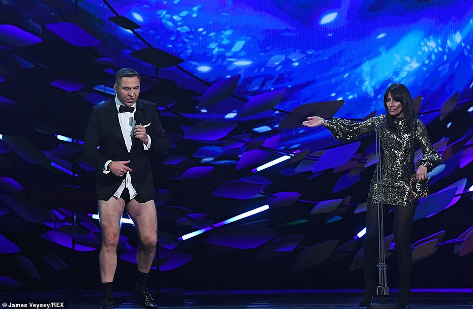 Jokes: This coincided perfectly with the next award, Best TV Judge, which David ended up winning, presented by Davina McCall