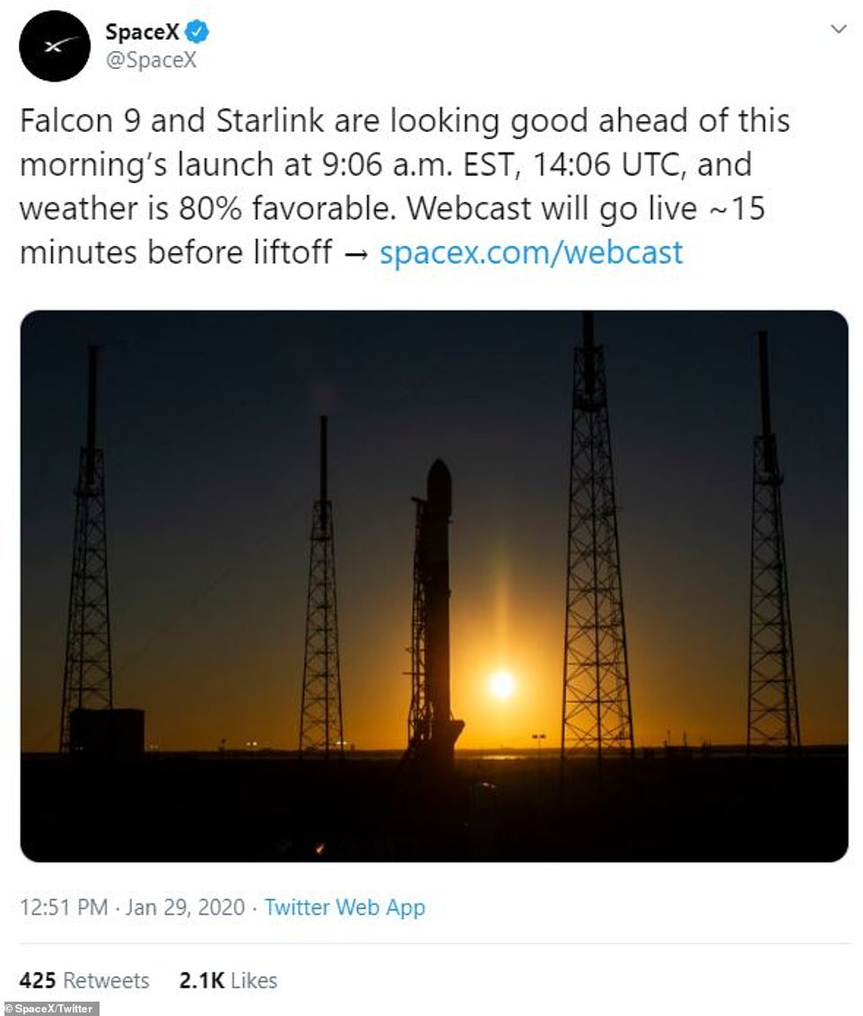 Today's take-off is scheduled for 14:06 GMT (9:06ET) and weather is 80 per cent favourable, SpaceX claims