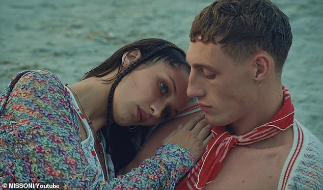 Onscreen leading man: The Jean-Paul Gaultier catwalker got very up, close, and personal with 23-year-old Irish model Aubrey O'Mahony (R) for the serene shoot