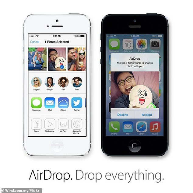 As with Apple's AirDrop, pictured, compatible phones nearby will appear in the Quick Share screen allowing for the transfer of images, video and other files. AirDrop — launched in 2011 — has prompted controversy over the way in which feature's 'everyone' setting can allow strangers to send unsolicited and offensive images