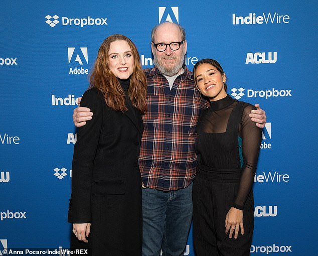 The team: Wood also posed with Kajillonaire co-star Richard Jenkins and Gina Rodriguez