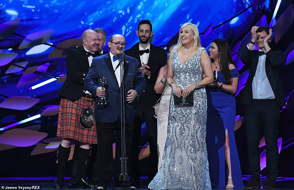 Funny stuff: Brendan O'Carroll and Jennifer Gibney accepted the gong for Mrs Brown's Boys
