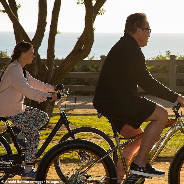 Bike ride:The former California Governor posted pictures of his meeting with Greta to his Instagram page, showing the pair on cycling tour around Santa Monica