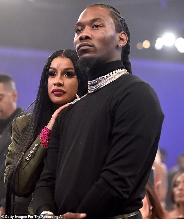By his side:He shares a one-year-old daughter called Kulture Kiari Cephus with his wife and fellow rapper Cardi B (left), whom he married in 2017