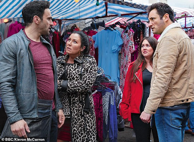 Long-running stint: Jessie is best known for her role as fiery Kat Slater on BBC soap EastEnders (pictured with Davood Ghadami, Lacey Turner and James Bye)