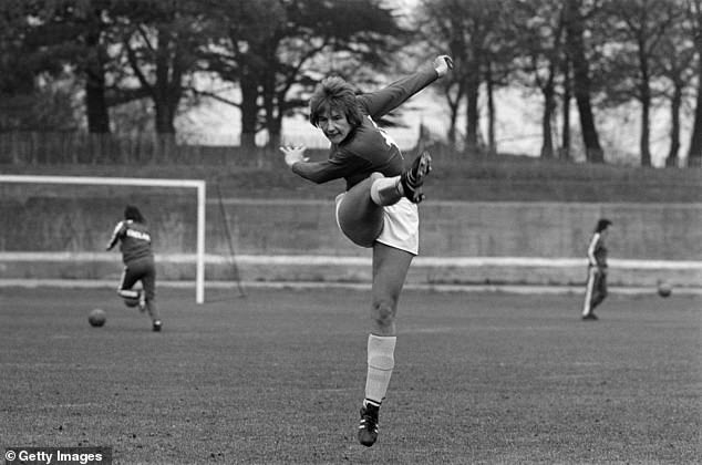 Ms Lopez, who helped Southampton win the FA Cup eight times, is one of many urging for a heading ban at least in youth football. She is pictured training for an England v France match