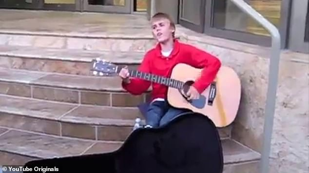 Then: In a viral video, a then 12-year-old Justin can be seen busking on the street