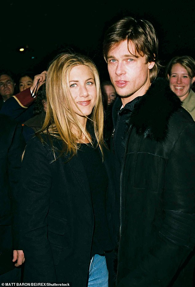 Former flame: The pair (pictured in 1999) were the iconic golden couple of the 90s, before Brad infamously left her in 2005 after falling for Angelina Jolie. The pair have since ended their relationship