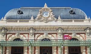 Panorama of Nice railway station, sunny day, blue sky