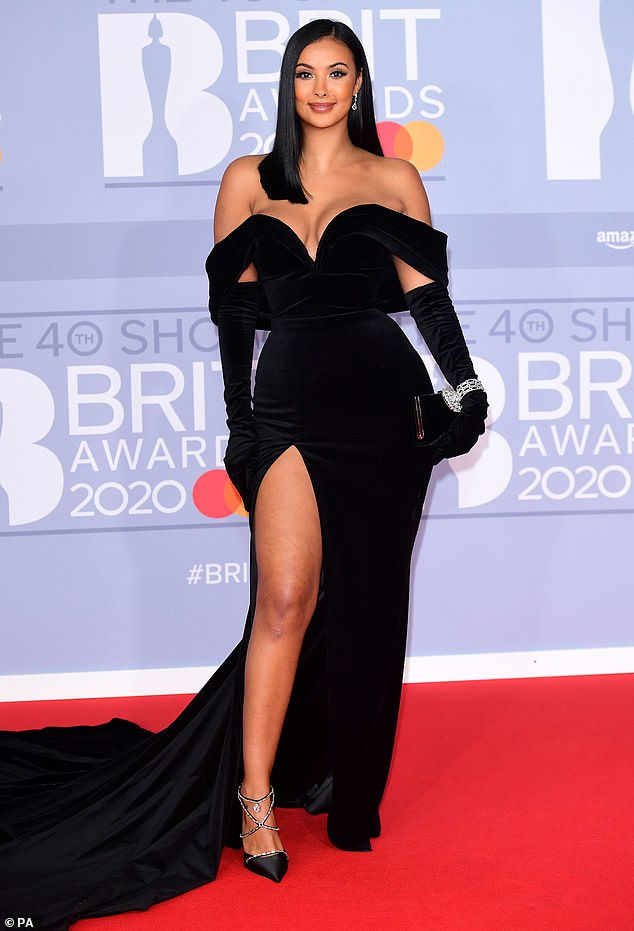 Looking good: Her former boyfriend triumphed at the 2020 BRIT Awards on Tuesday evening, but former girlfriend Maya Jama enjoyed her own victory of sorts as she walked the red carpet