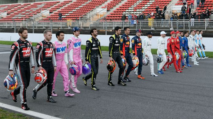 The 20 Formula 1 drivers line up at pre-season testing at the Circuit de Barcelona-Catalunya