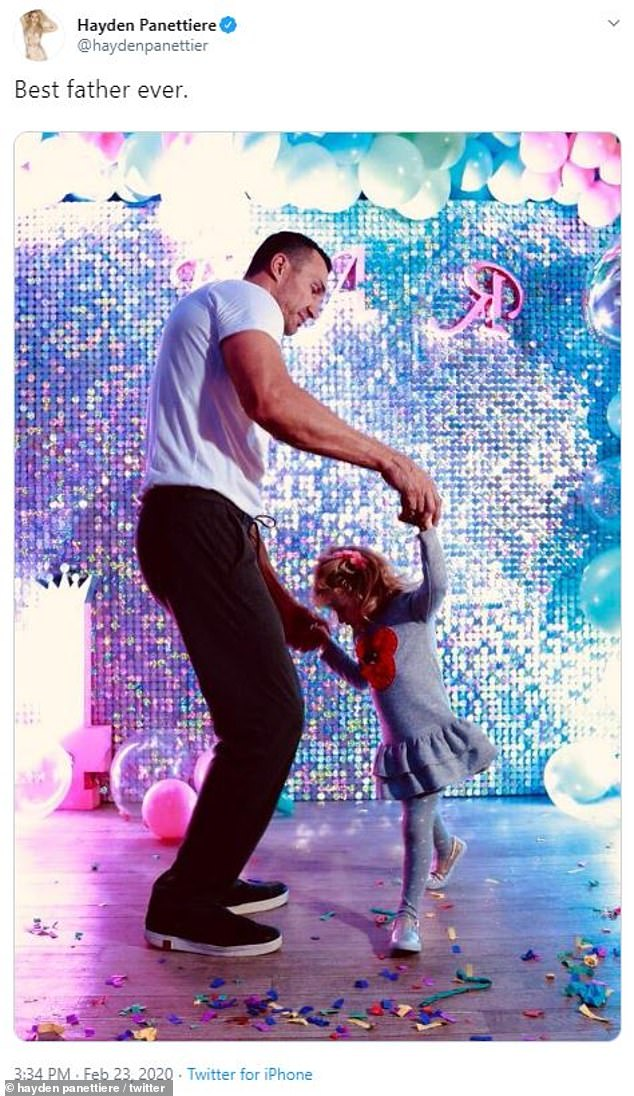 Good relationship: Hayden seems to still care for Klitschko as well and just a few days ago praised him on Twitter as the 'best father ever' to their five-year-old daughter Kaya