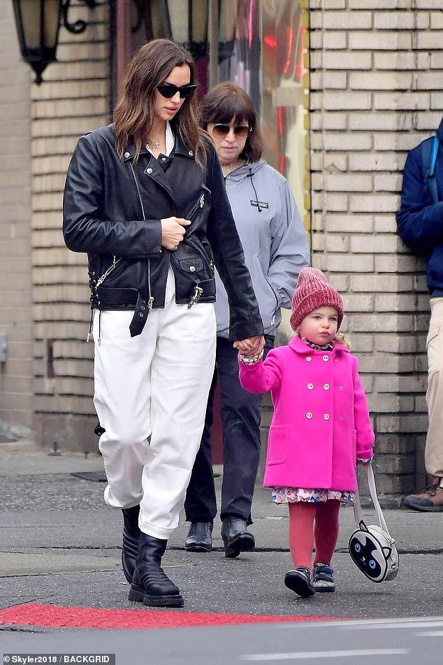 Aww: Irina Shaykwas seen walking hand-in-hand with two-year-old daughter Lea De Seine Shayk Cooper in New York City on Wednesday
