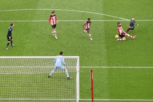 Matej Vydra scores the winning goal for Burnley at Southampton.
