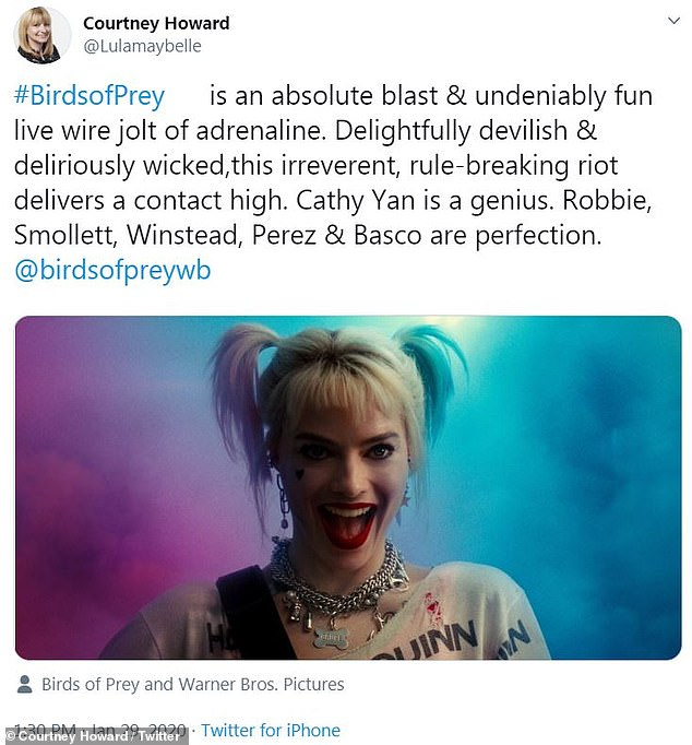 Perfect:Variety's Courtney Howard called the movie an, 'absolute blast' while calling Margot Robbie, Mary Elizabeth Winstead, Jurnee Smollett-Bell, Rosie Perez and Ella Jay Basco's performances, 'perfection'