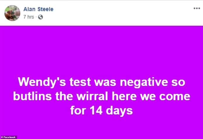 Mr Steele joked that they'd be going to 'Butlins, the Wirral' for 14 days - a reference to being quarantined at Arrowe Park Hospital in Merseyside for a fortnight