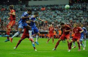 Didier Drogba heads home.