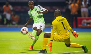 Odion Ighalo scores for Nigeria against Burundi in the 2019 Africa Cup of Nations.