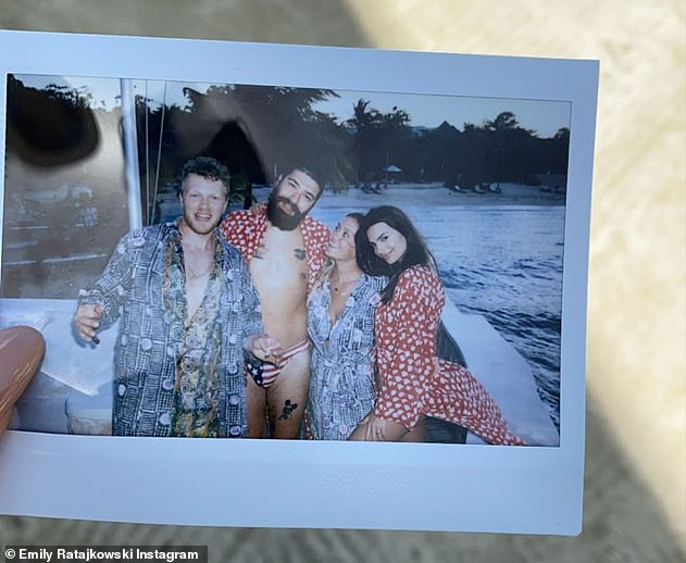 Hanging out: The two weren't the only ones on the trip. Later Ratajkowski shared an instant photo with pal Josh Ostrovsky AKA The Fat Jew and a female friend