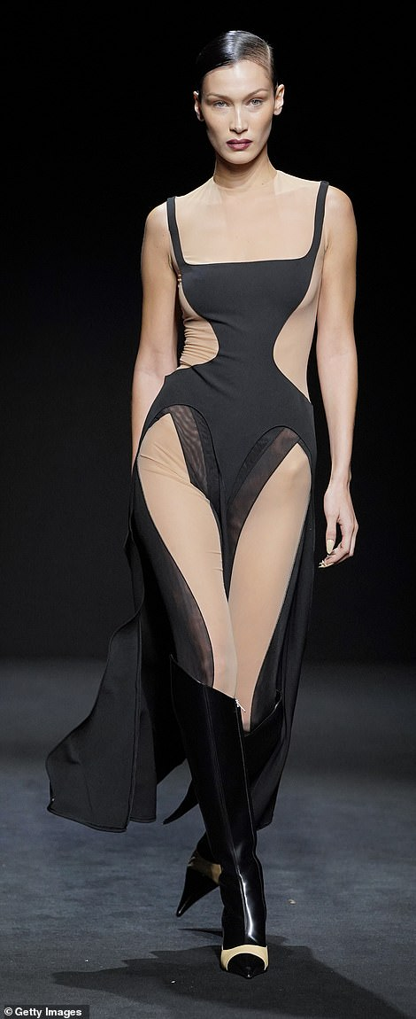 Woah mama! Bella worked every angle while parading the runway in the sizzling number which showcased all her assets