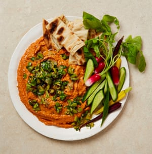 Yotam Ottolenghi's roast red pepper dip with lemon and olive salsa.