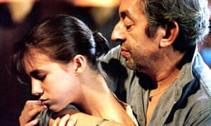 Serge Gainsbourg with his arm around his daughter Charlotte. She is facing away from him and looking down
