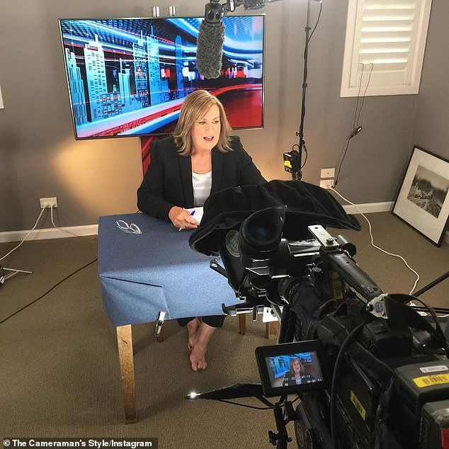 'We're a little bit cramped!' A Current Affair's Tracy Grimshaw (pictured), 59, hosted the Channel Nine program from her SPARE BEDROOM on Monday, amid the coronavirus pandemic