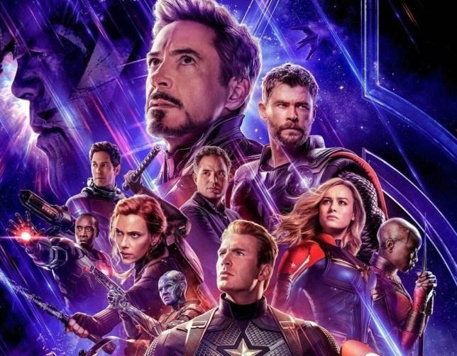 Marvel's Avengers: Endgame poster featuring robert downey jr, chris evans, brie larson, scarlet johansson, chris hemsworth and mark ruffalo