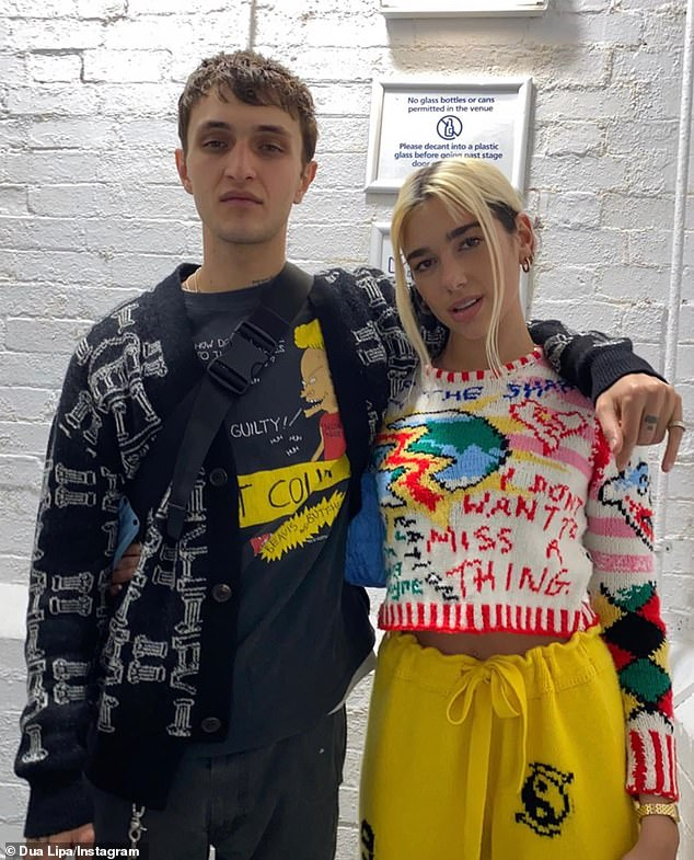 'Waiting for mom and dad to get home': The 'kids' reportedly belong to belong to her younger brother Anwar (L) and his pop star girlfriend, Dua Lipa (R, pictured Friday in London)