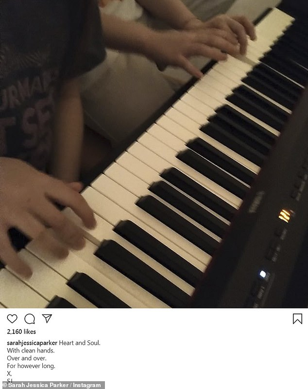 For however long: Sarah Jessica Parker shared a picture of her daughters Tabitha, 10, and Marion, 10, partaking in some piano playing