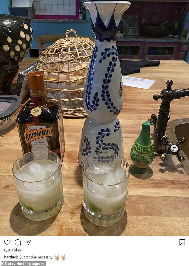Unique approach: 'Quarantine necessity,' captioned Hart on a picture of two drinks he made for himself and wife Pink