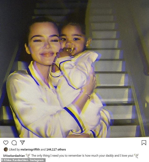 So much love: Khloe enjoyed a day indoors with her daughter True, who she shares with her basketball player ex Tristan Thompson