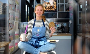 Christina Tosi, with a birthday cake shake and cookie at her Washington DC Milk Bar - she is doing a daily baking club on Instagram Live.