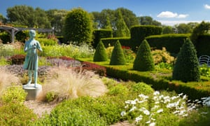 Topiary and a sculpture in the near 90-year-old Waterperry Gardens.