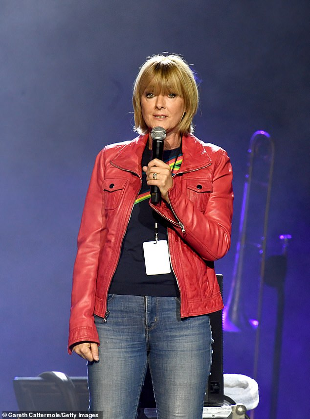 Host: Loose Women panellist Jane Moore helped introduce acts on stage, and she put on a casual chic display in a red biker jacket and a black top