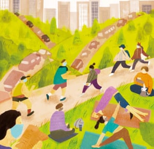 Illustration of people wearing face masks exercising in a park, with tower blocks behind and cars on the road