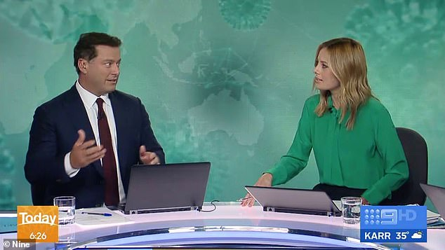 'I'm not allowed to leave': On Tuesday's episode of Today, Karl Stefanovic, 45, (left) revealed the hospital lockdown precautions he'll have to take as his wife Jasmine Yarbrough, 36, gives birth in May
