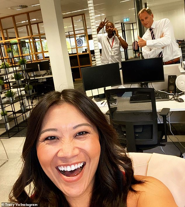 New normal: Newsreader Tracy Vo (pictured) revealed how the Nine News office in Perth are social distancing... after moving back to Western Australia to be with her parents amid the COVID-19 pandemic
