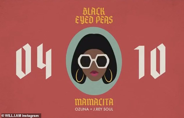 New music:The musician's outing came a day before his latest single with The Black Eyed Peas, Mamacita feat Ozuna and J.Rey Soul, was released